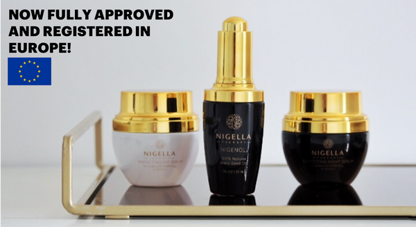 Nigella Therapy products with EU flag