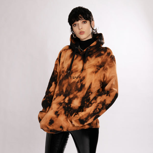 DANCEFLOOR BUSINESS BLEACH TIE DYE HOODIE - BLACK/ORANGE
