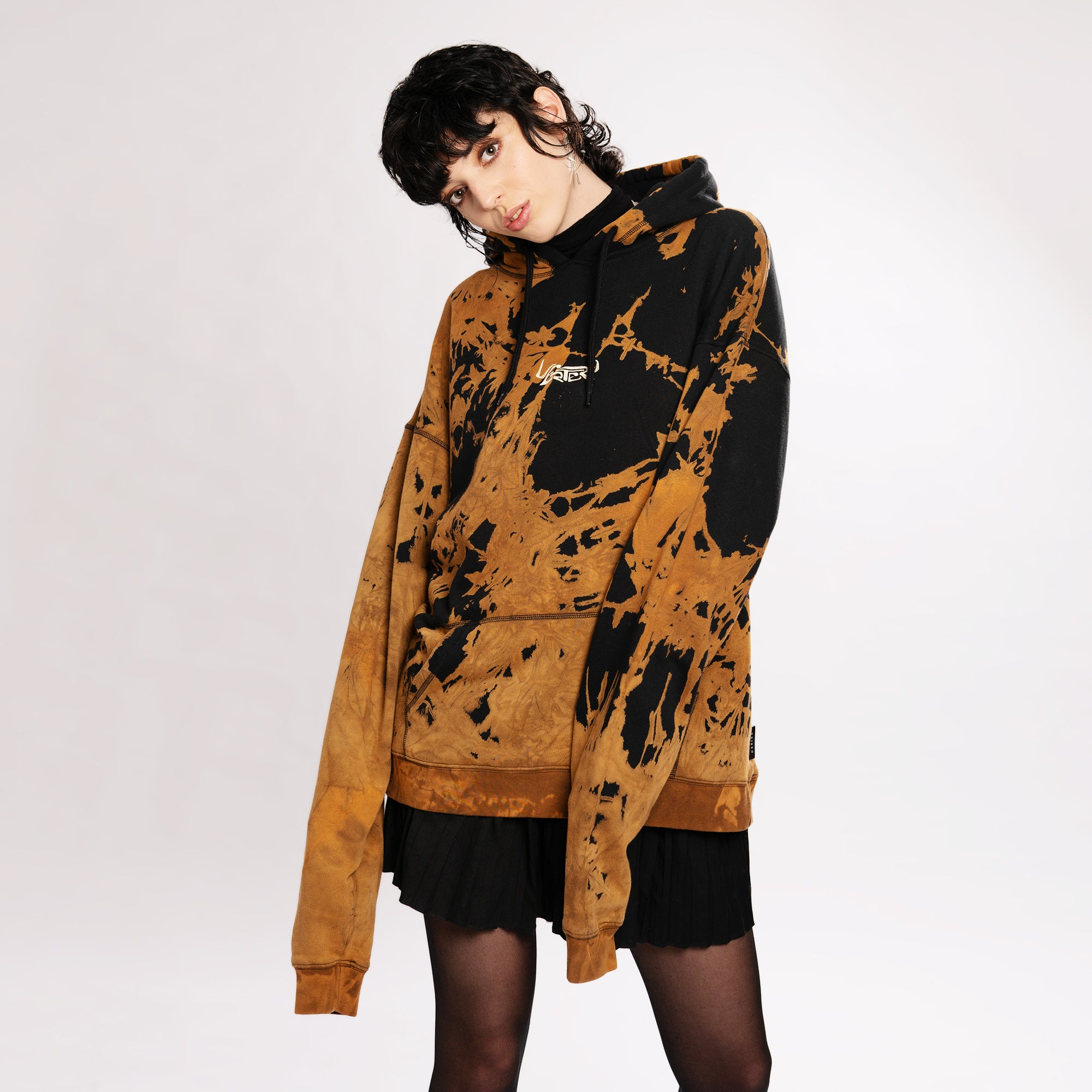 ULTRA HEAVY OVERSIZE SPACE HOODIE - BLACK/ORANGE