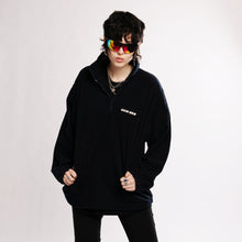 RUBBER PATCH FLEECE ZIP SWEATER - DARK NAVY