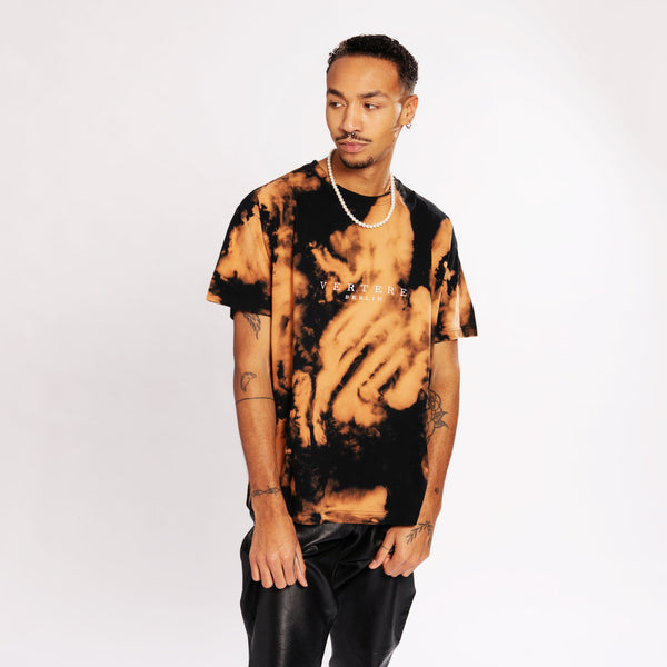 VERTERE BERLIN BLEACH TIE DYE T-SHIRT - BLACK/ORANGE