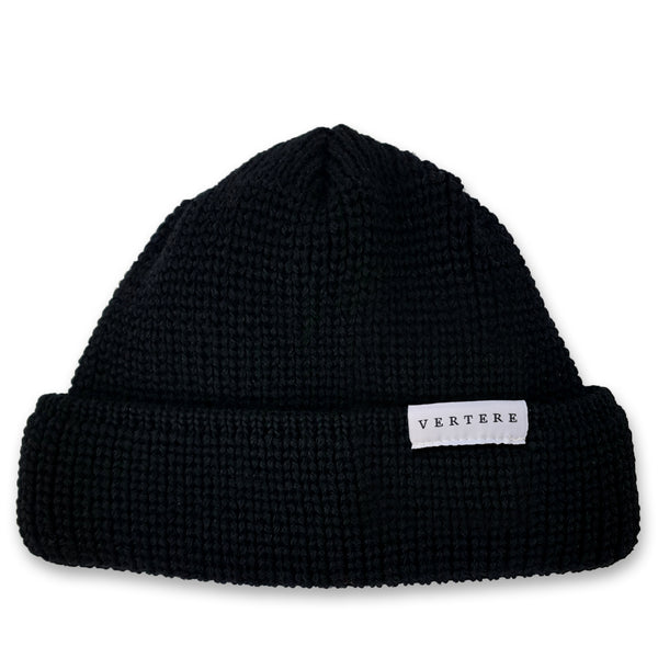 SHORT WOOL BEANIE - BLACK
