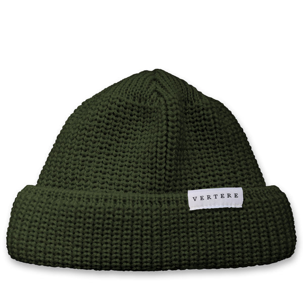 SHORT WOOL BEANIE - DARK-GREEN