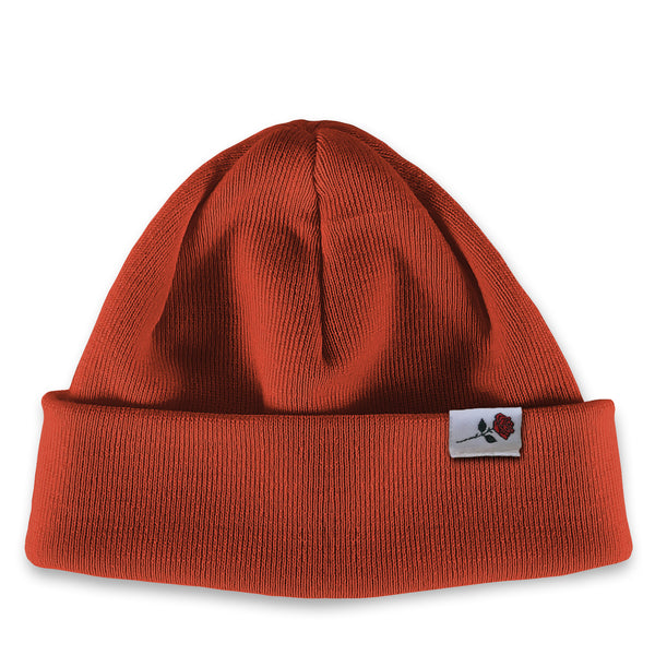 SHORT MERINO BEANIE ROSE - RUST