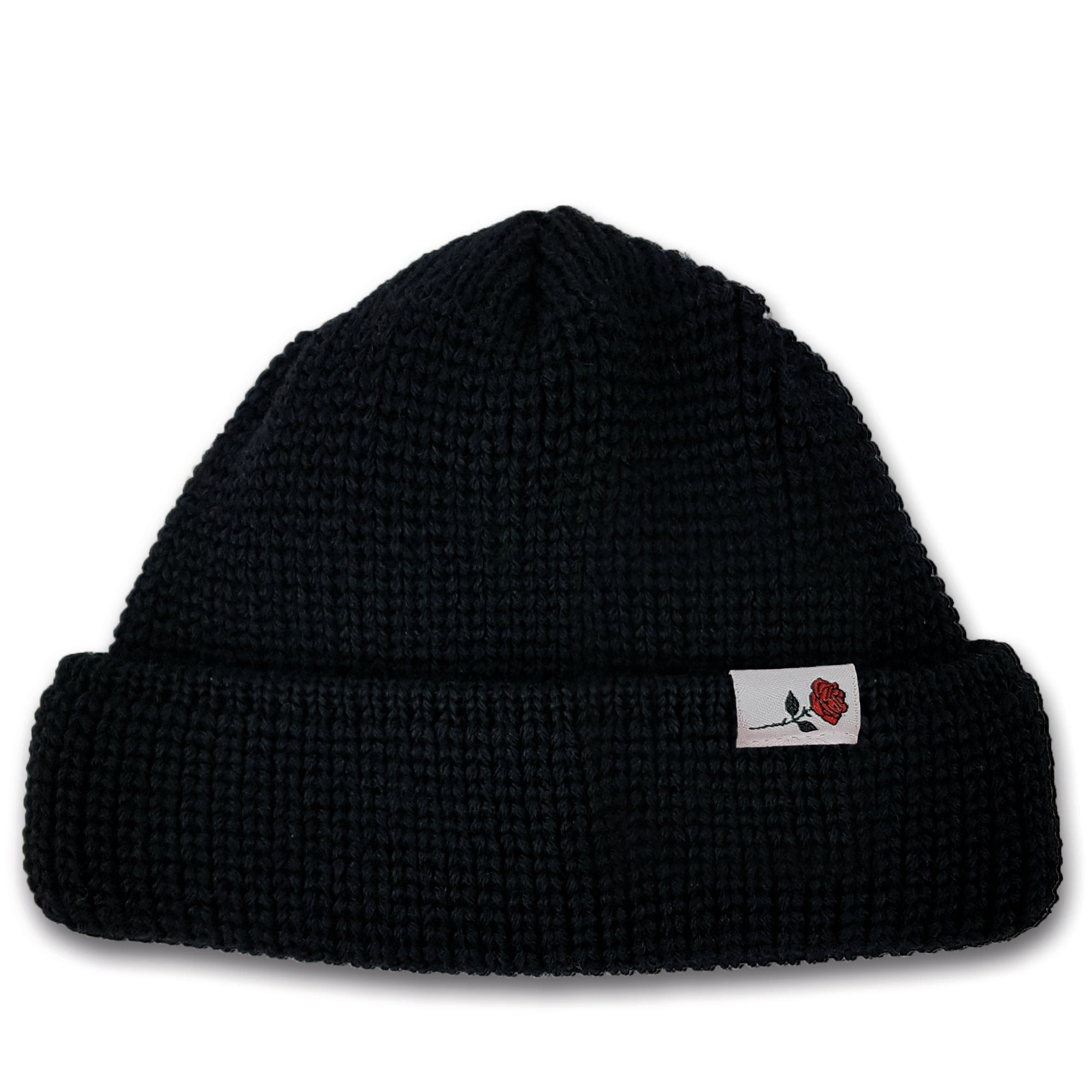 SHORT WOOL BEANIE ROSE - BLACK