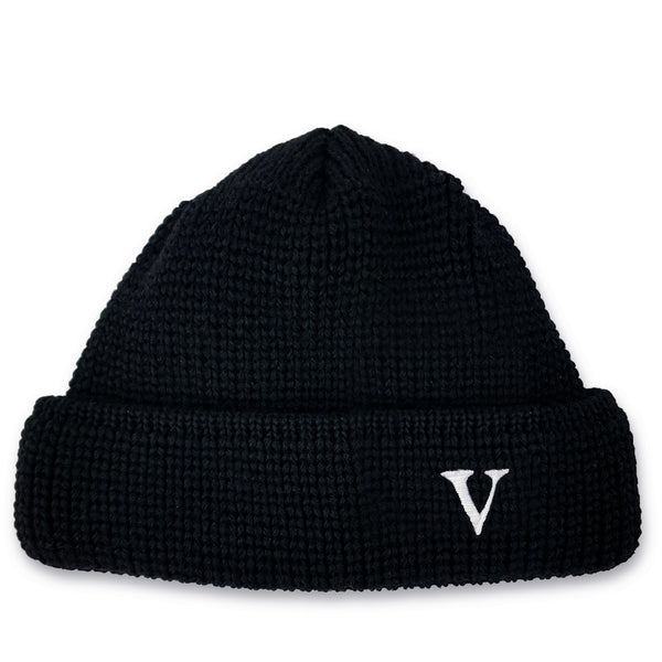 SHORT WOOL BEANIE V - BLACK