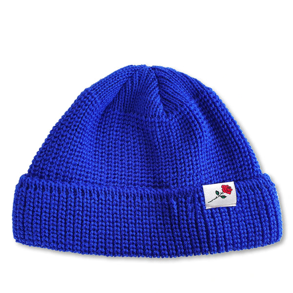 SHORT WOOL BEANIE ROSE - ROYAL