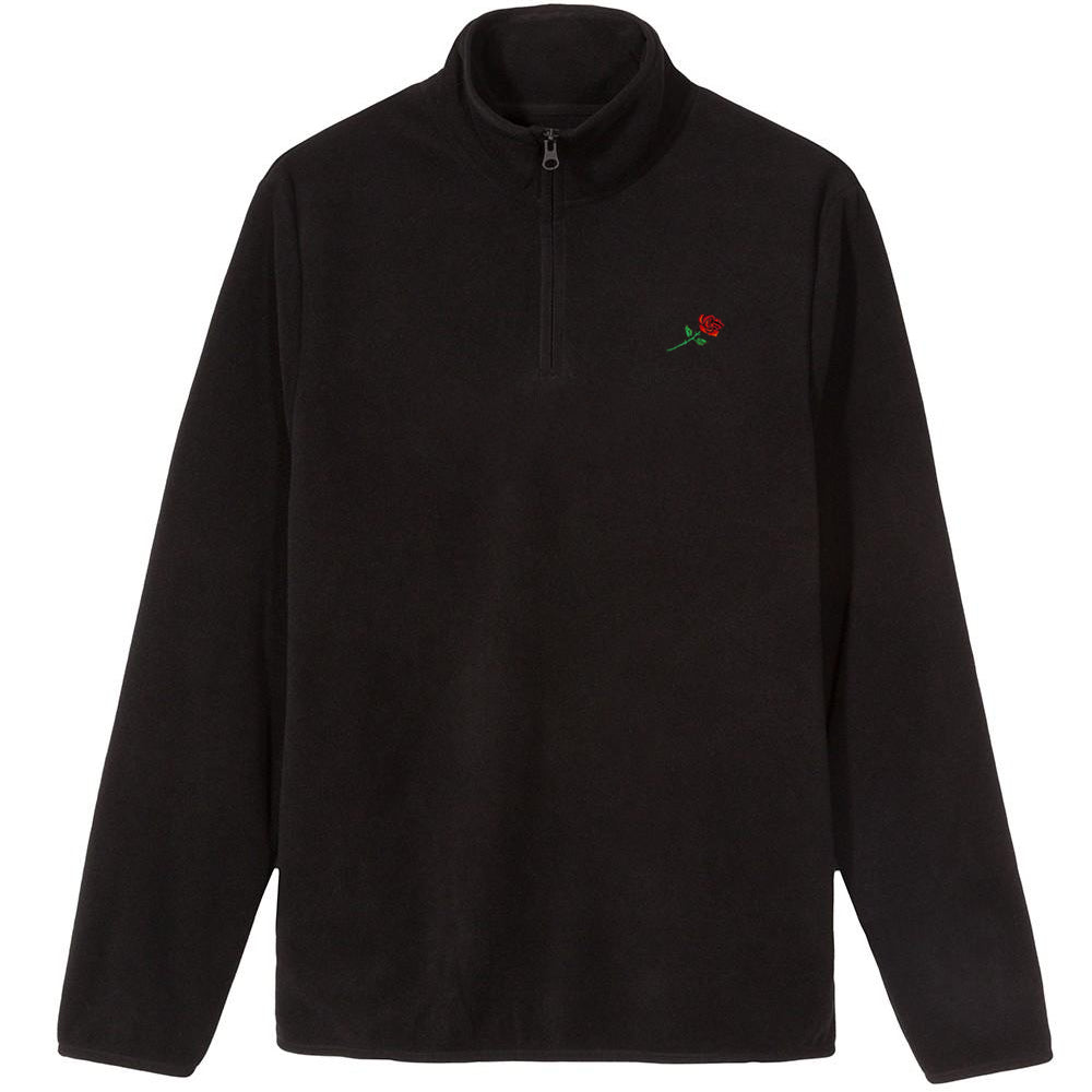 FLEECE ZIP SWEATER ROSE - BLACK