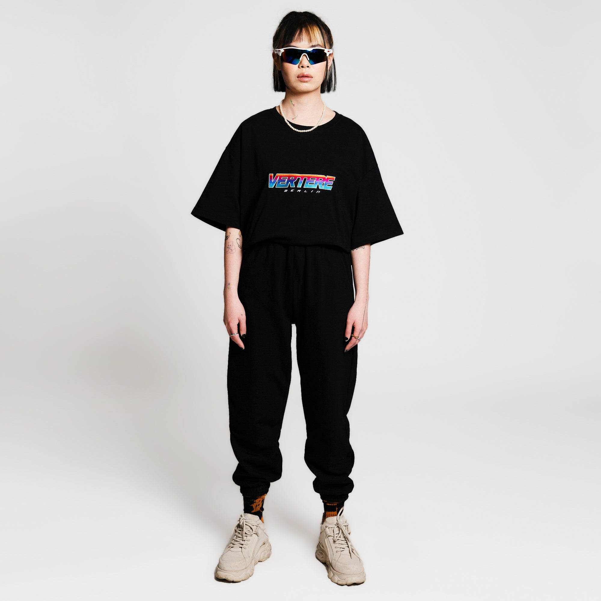 BLOCK LETTER T-SHIRT - BLACK/RAINBOW