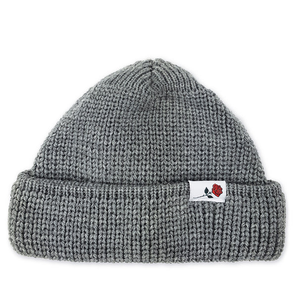 SHORT WOOL BEANIE ROSE - LIGHT-GREY