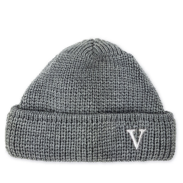 SHORT WOOL BEANIE V - LIGHT-GREY
