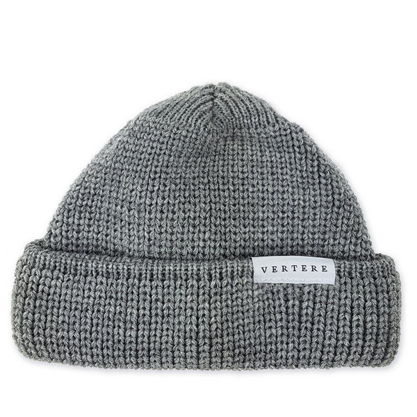 SHORT WOOL BEANIE - LIGHT-GREY
