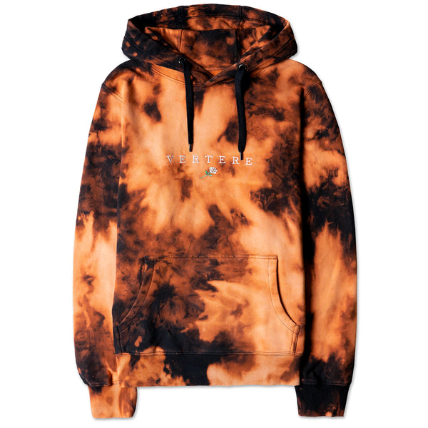 WHITE ROSE BLEACH TIE DYE HOODIE - BLACK/ORANGE