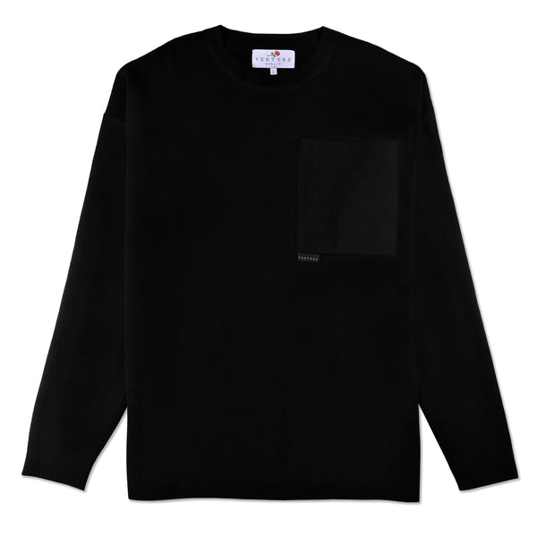 OVERSIZE POCKET KNIT SWEATER - BLACK