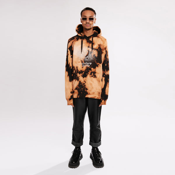 RHINESTONE SCORPIO BLEACH TIE DYE HOODIE - BLACK/ORANGE