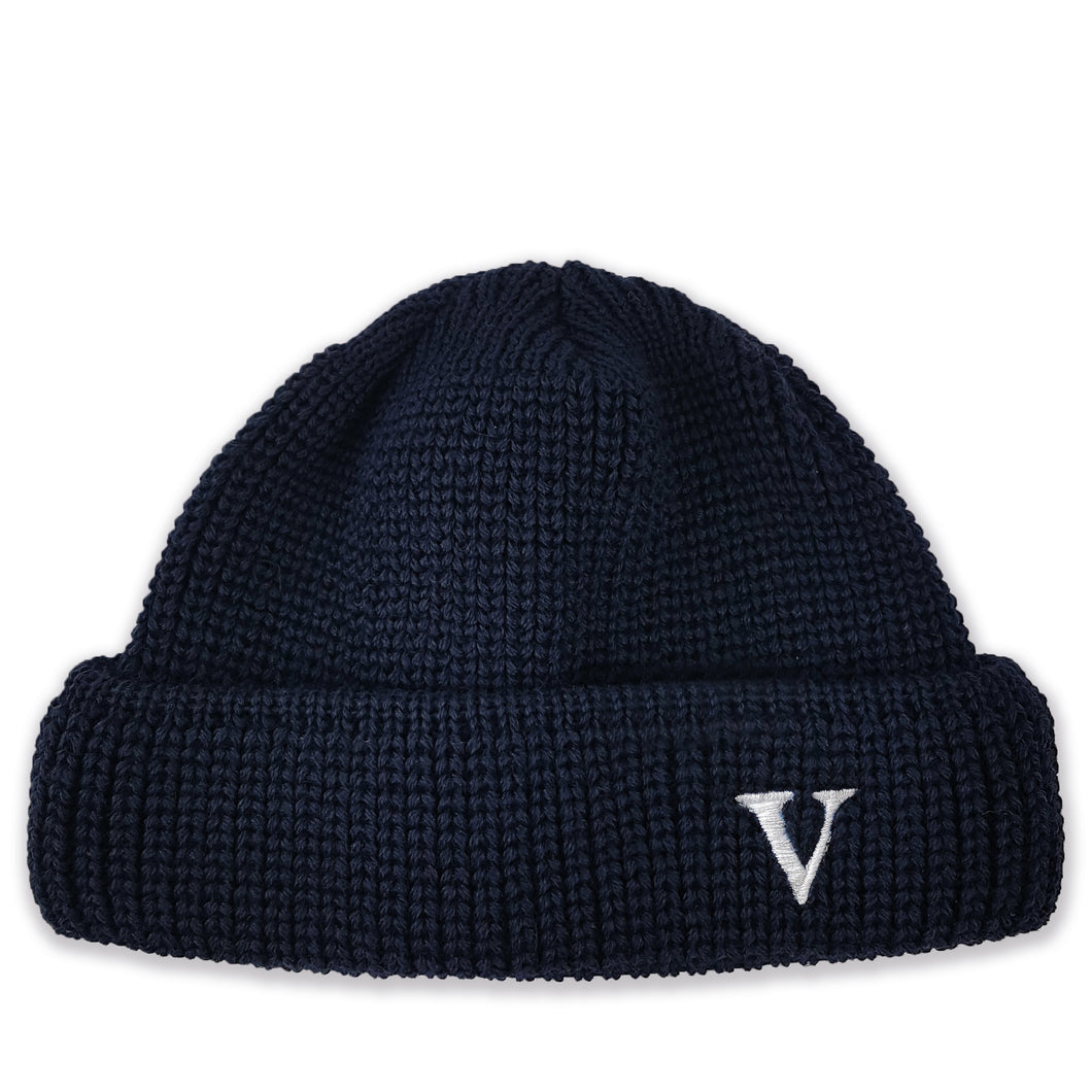 SHORT WOOL BEANIE V - NAVY