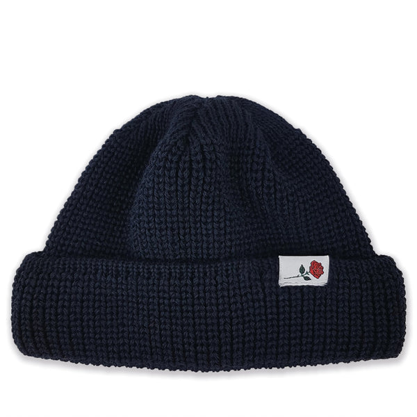SHORT WOOL BEANIE ROSE - NAVY