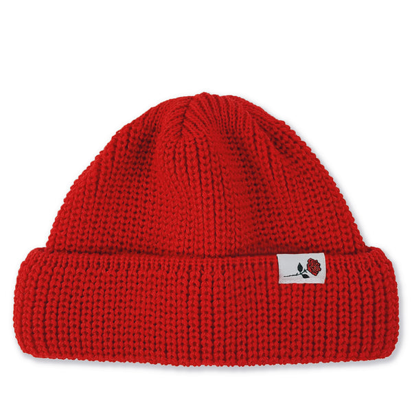 SHORT WOOL BEANIE ROSE - RED