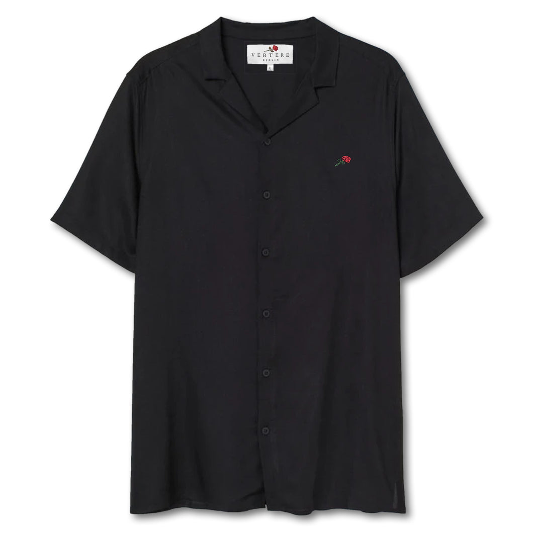 MICRO ROSE RESORT SHIRT - BLACK