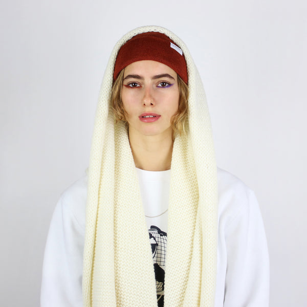 OVERSIZED KNIT SCARF - WHITE