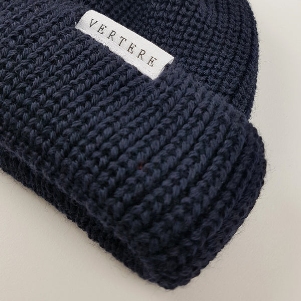 SHORT WOOL BEANIE - NAVY