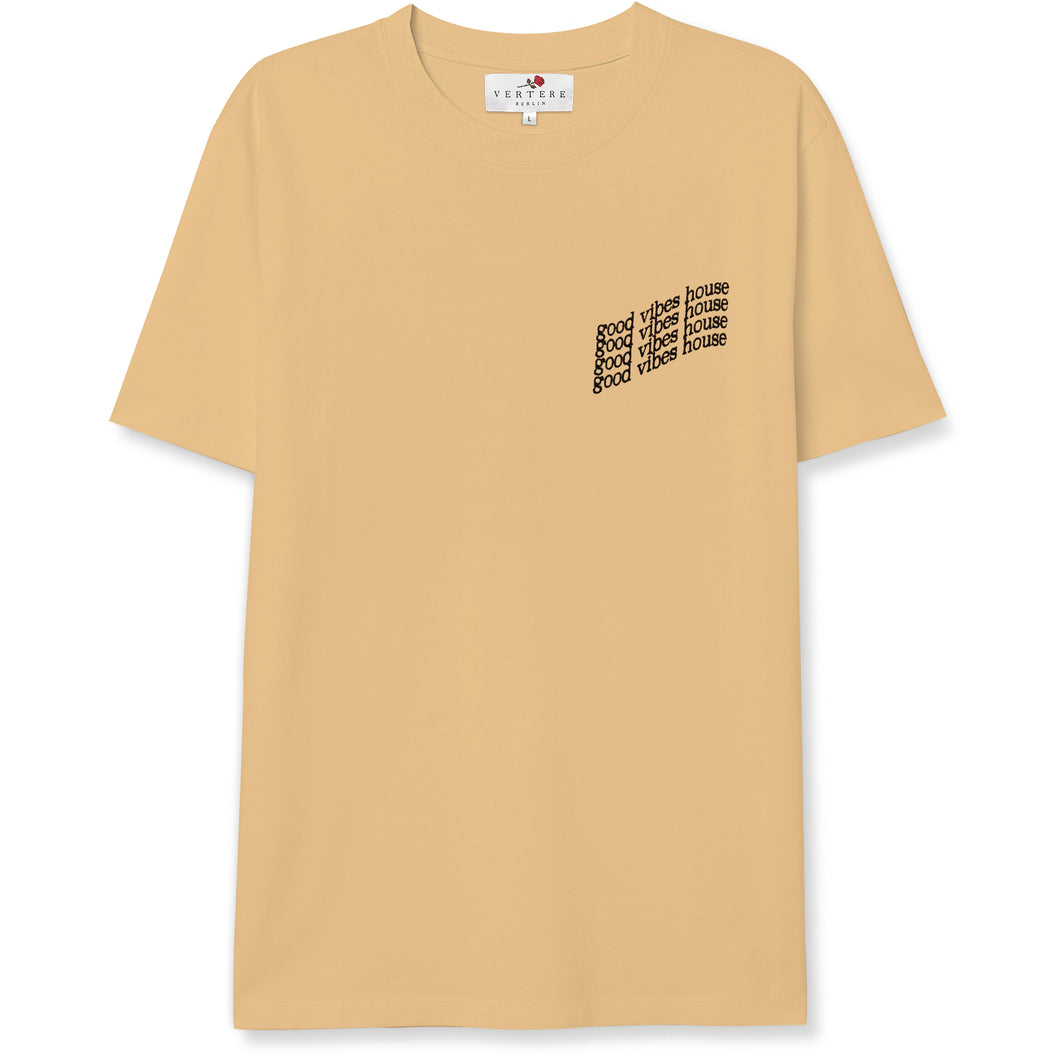 GOOD VIBES HOUSE T-SHIRT - PEACH