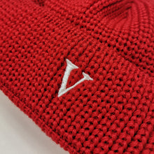 SHORT WOOL BEANIE V - RED