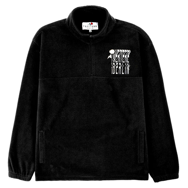FLEECE ZIP SWEATER DISTORTION - BLACK