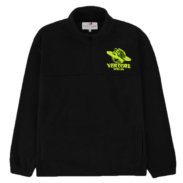 FLEECE ZIP SWEATER NEON GLOBE - BLACK