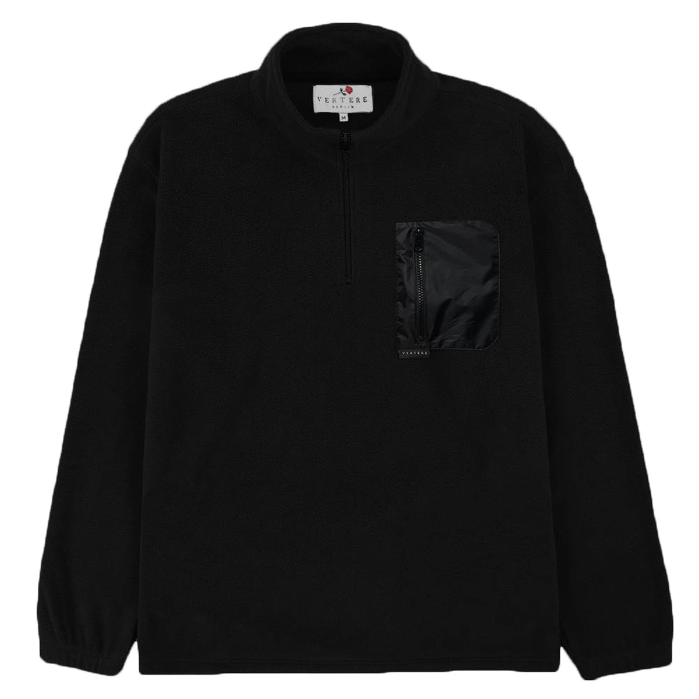 FLEECE ZIP WITH NYLON POCKET - BLACK
