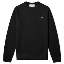 KNIT SWEATER CROSSED ROSE - BLACK