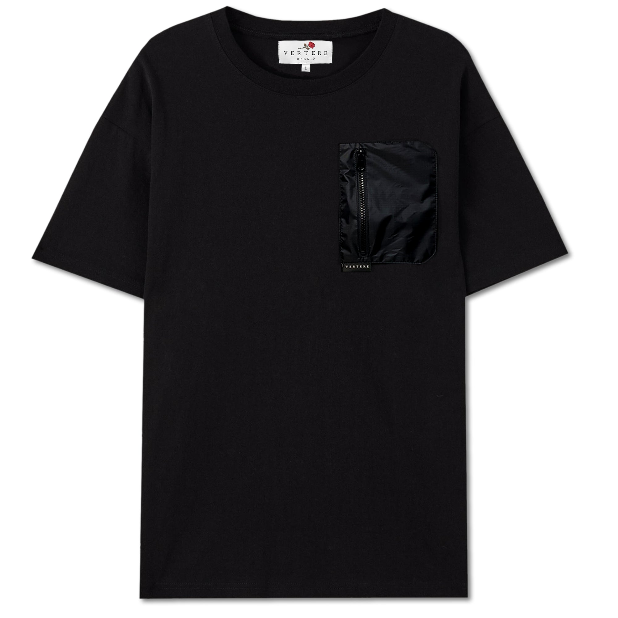 NYLON POCKET OVERSIZE T-SHIRT - BLACK