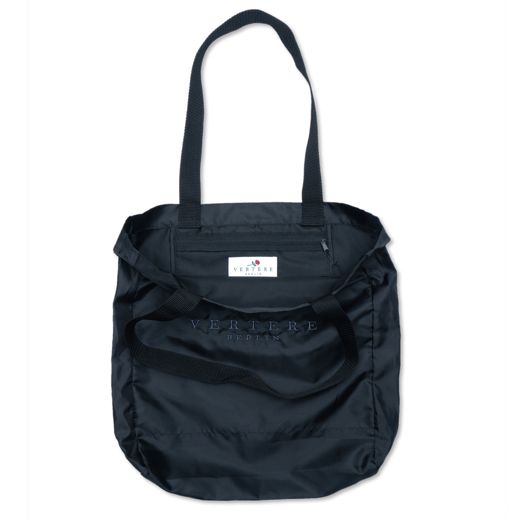 MONOCHROME NYLON SHOPPER BAG - BLACK