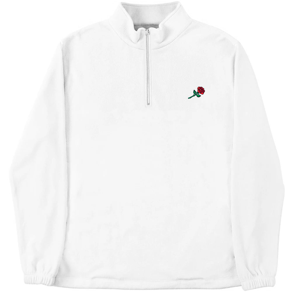 FLEECE ZIP SWEATER ROSE - WHITE
