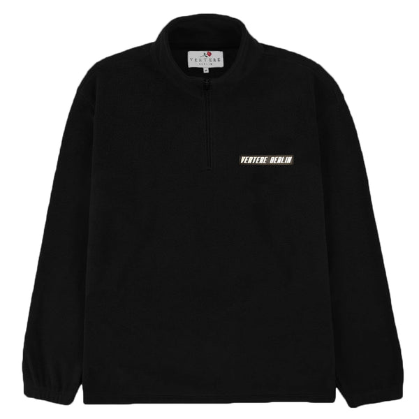 RUBBER PATCH FLEECE ZIP SWEATER - BLACK