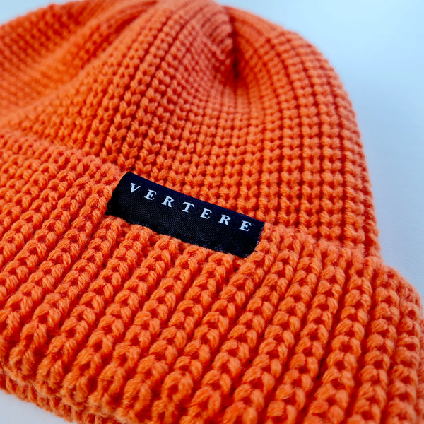 SHORT WOOL BEANIE - ORANGE