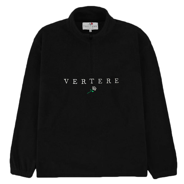 FLEECE ZIP SWEATER VERTERE ROSE - BLACK