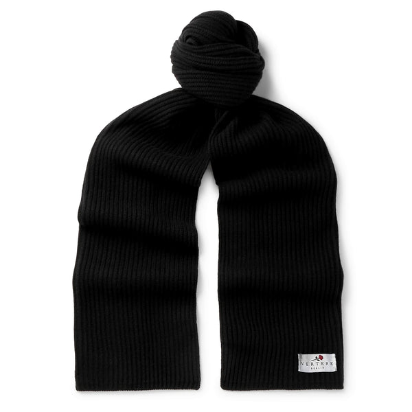 OVERSIZED KNIT SCARF - BLACK