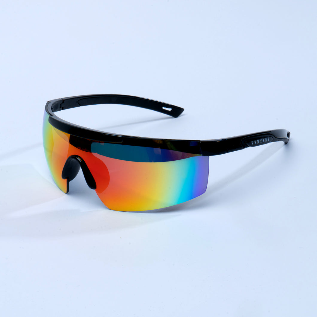 MIRRORED RETRO RACING SUNGLASSES - RAINBOW