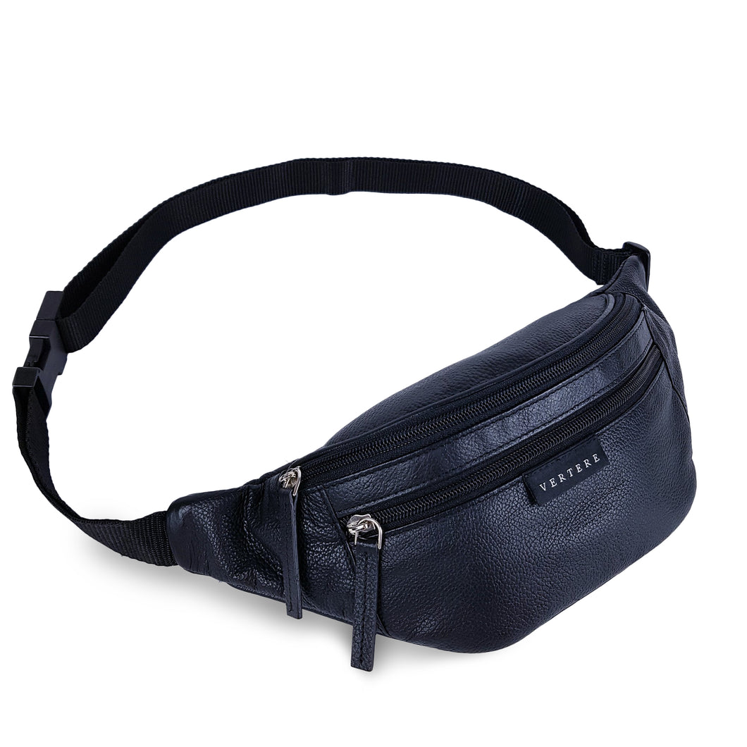 LEATHER HIP BAG - BLACK