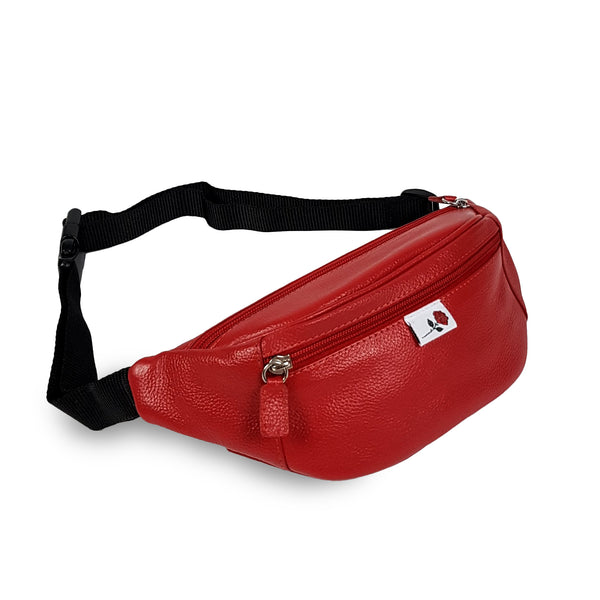 LEATHER HIP BAG - RED