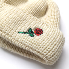 SHORT WOOL BEANIE ROSE EMBROIDERY - OFFWHITE