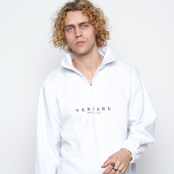 FLEECE ZIP SWEATER - WHITE