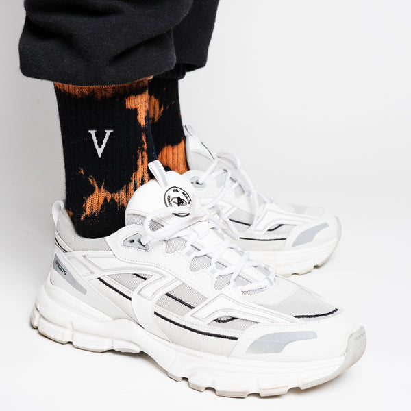 TENNIS SOCKS V TIE DYE - BLACK/ORANGE