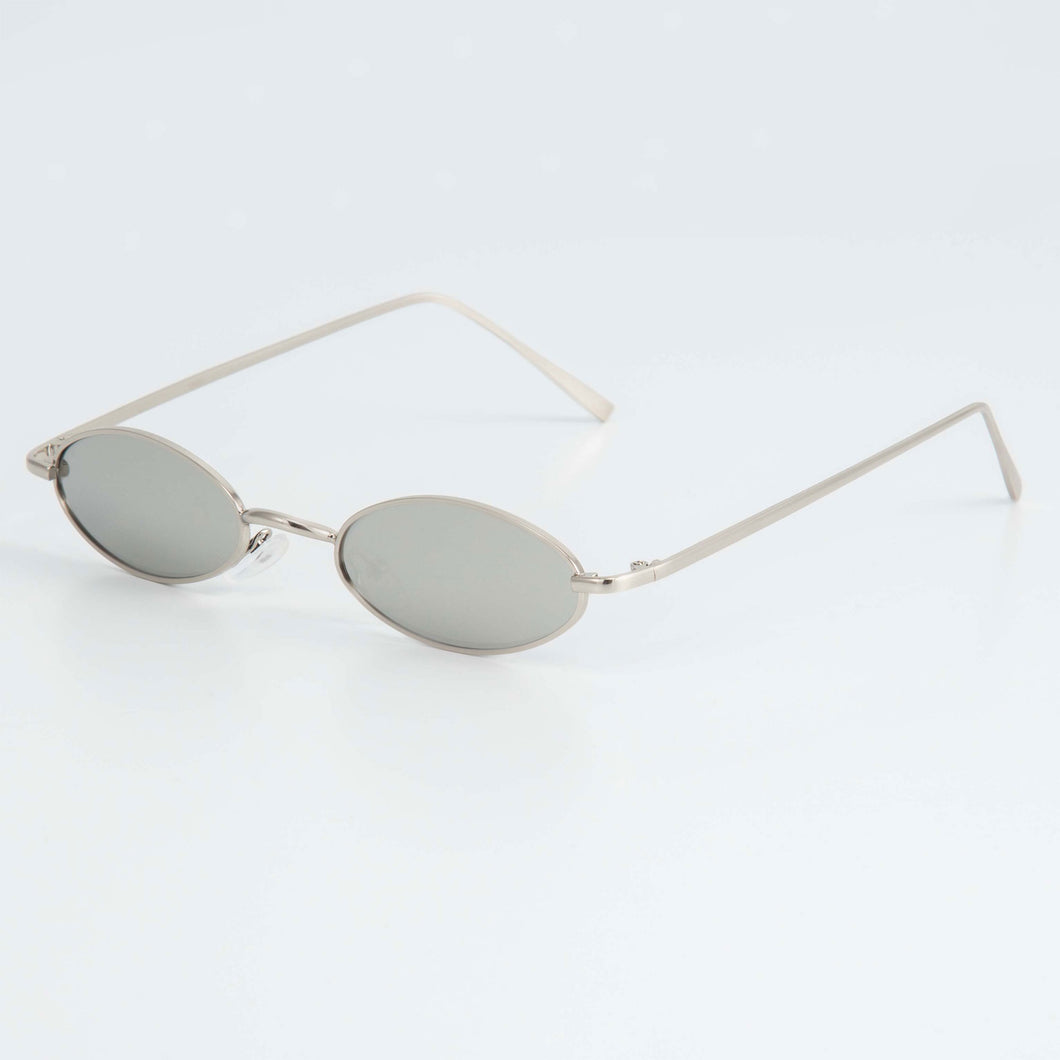 SLIM RAVE SUNGLASSES INCL. CHAIN - SILVER