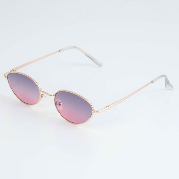 OVAL SUNGLASSES INCL. CHAIN - LILAC / GOLD