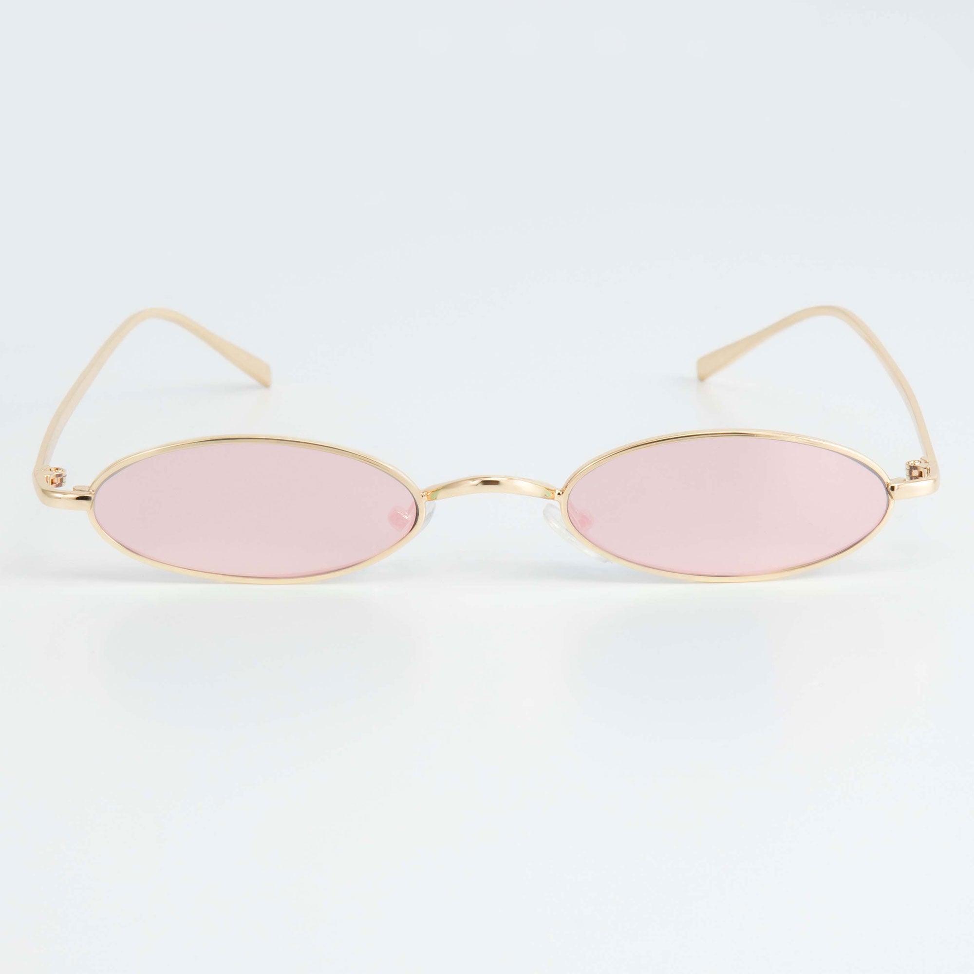 SLIM RAVE SUNGLASSES INCL. CHAIN - PINK / GOLD