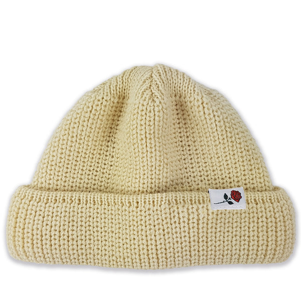 SHORT WOOL BEANIE ROSE - OFFWHITE