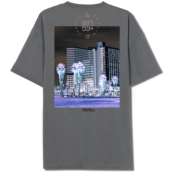 DISCO HALAL PALMS T-SHIRT - GREY