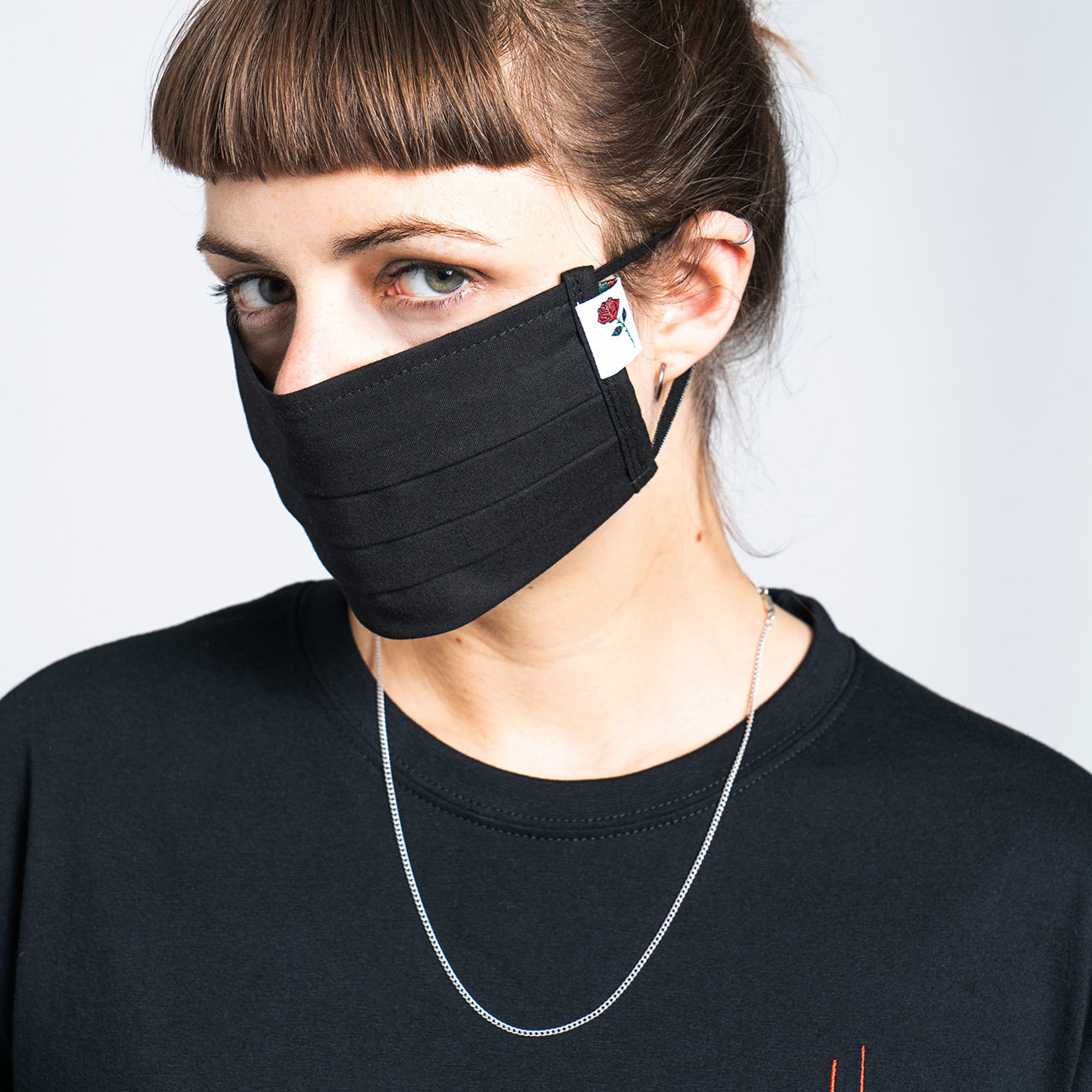 COTTON MASK ROSE WITH NECKBAND - BLACK